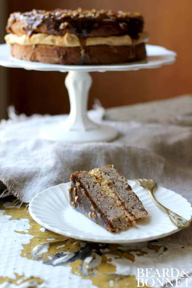 PEcan Cake with Brown Sugar Topping {Beard and Bonnet} #glutenfree