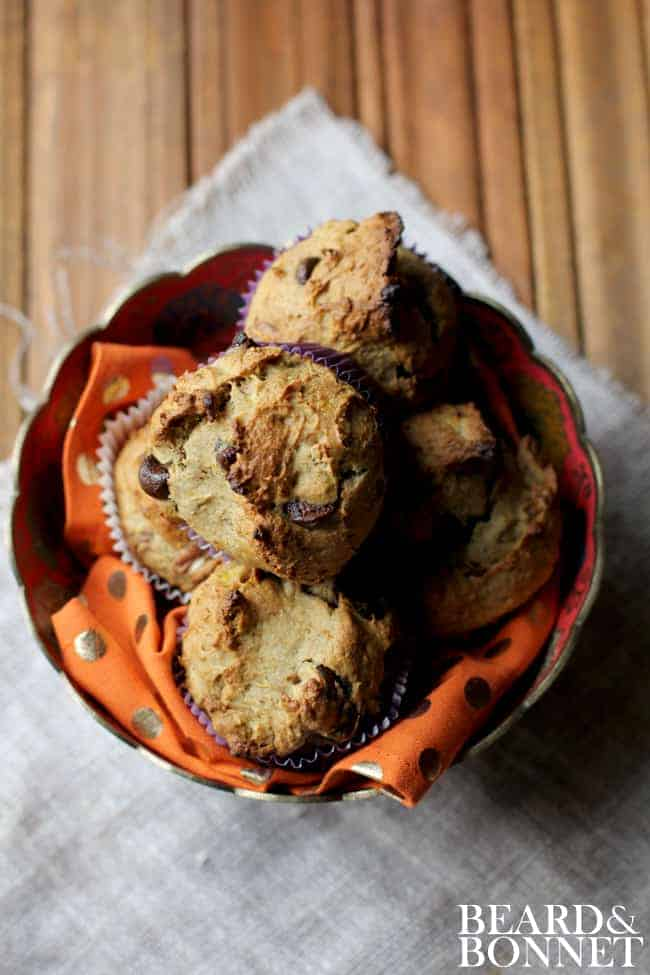 Banana Chocolate Chip Muffins {Beard and Bonnet} #gfree