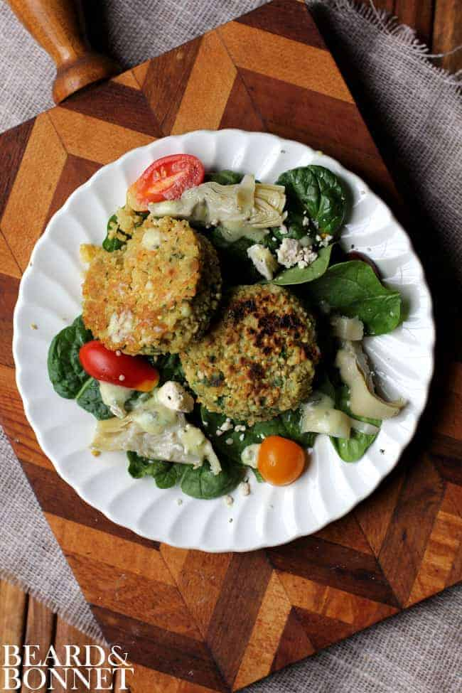 Spinach and Artichoke Salad with Millet Cakes {Beard and Bonnet} #gfree # vegetarian