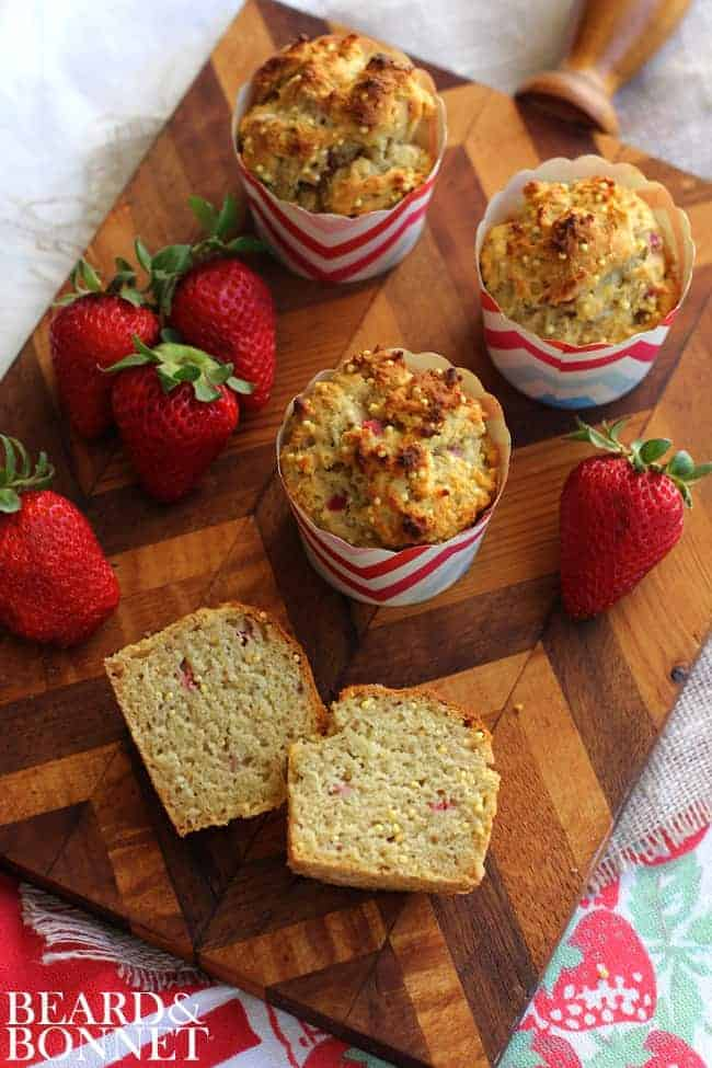 Strawberry Millet Muffins {Beard and Bonnet}