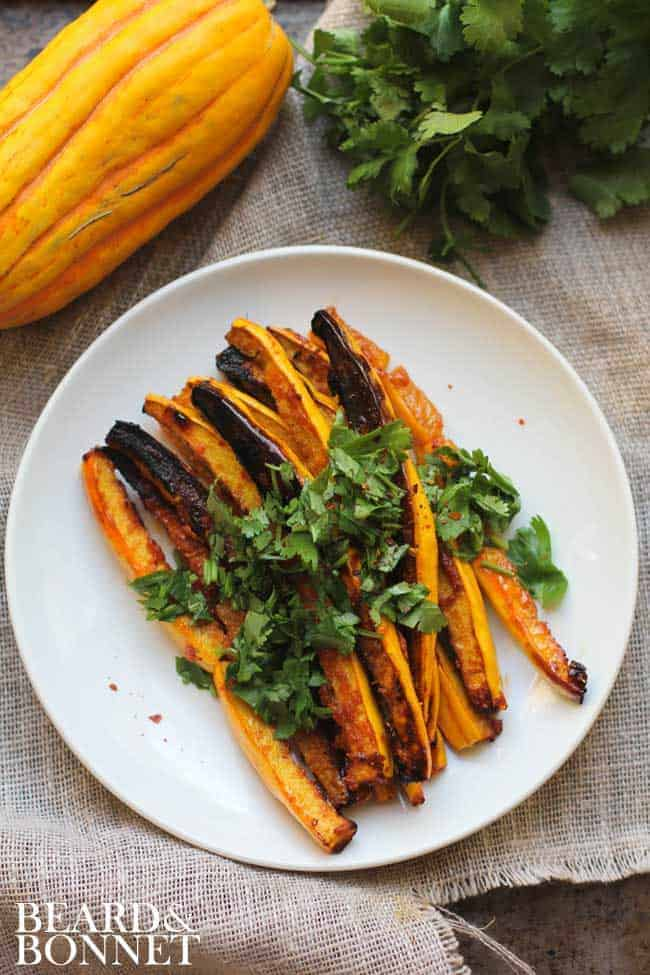 Miso and Red Curry Glazed Delicata Squash Fries {Beard and Bonnet} #glutenfree #vegan