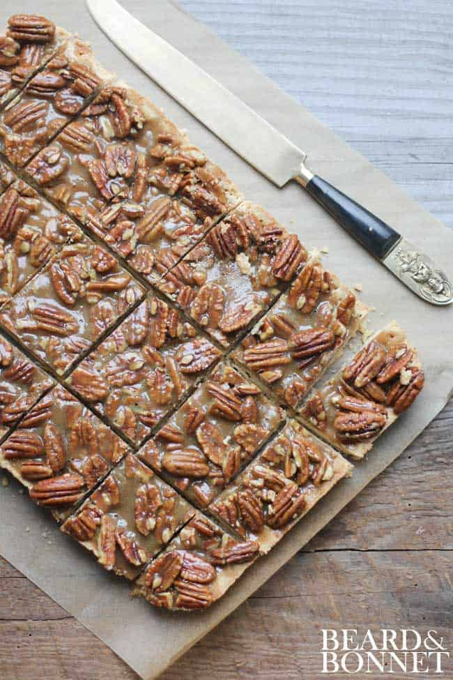 Pecan Pie Bars {Beard and Bonnet} #glutenfree