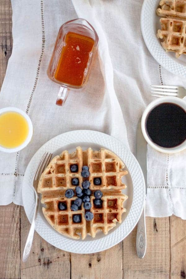 Meyer Lemon Poppy Seed Waffles {@beardandbonnet www.thismessisours.com }