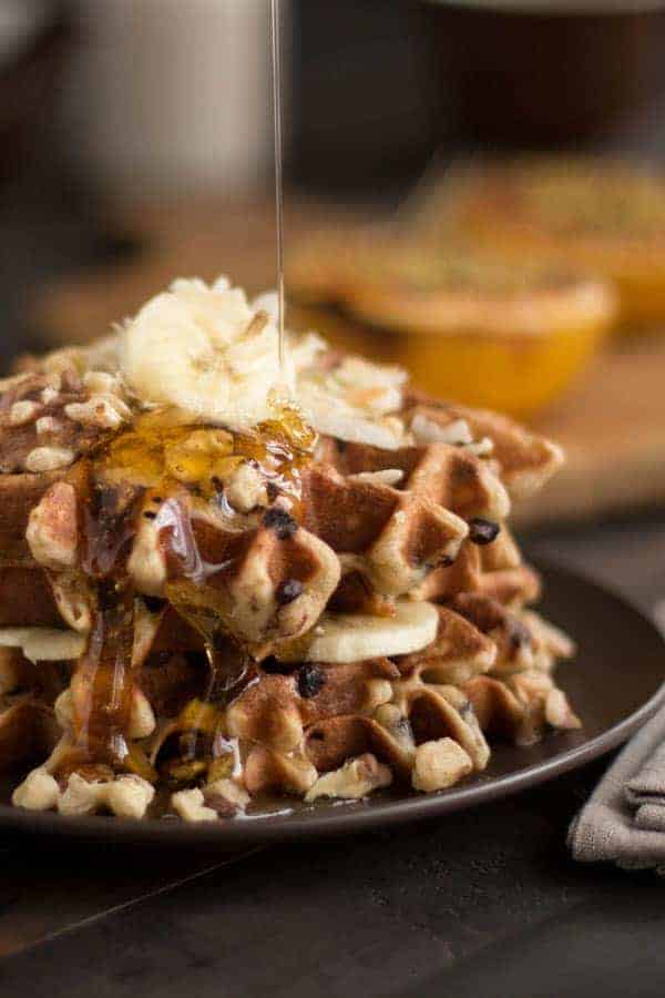 10 Recipes To Make A Teen When One Direction Breaks Up: Gluten Free Banana Chocolate Chip Waffles recipe / www.thismessisours.com / @beardandbonnet